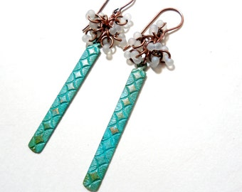 Turquoise and White Copper Dangle Earrings, Patina, Etched Copper Long Earrings, Cluster Earrings, Spring Jewelry