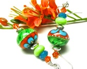 Orange Green Turquoise Earrings Lime Green Earrings Elegant Earrings Lampwork Earrings Glass Earrings Artisan Earrings Colorful Earrings