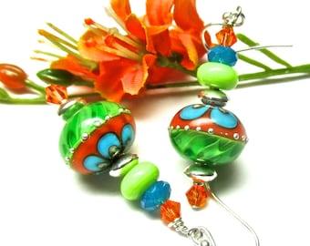 Orange Green Turquoise Earrings Lime Green Earrings Elegant Earrings Lampwork Earrings Glass Earrings Artisan Earrings Colorful Earrings