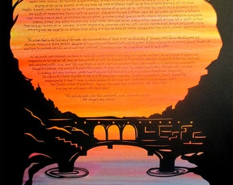 Ponte Vecchio Papercut Ketubah - Firenze Italy - Florence - silhouette - Hebrew calligraphy
