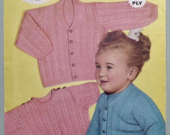Vintage Knitting Pattern 1950s Toddler's Twin Set Child's Jumper Sweater Cardigan Unisex 50s original pattern for children Weldons UK B1527