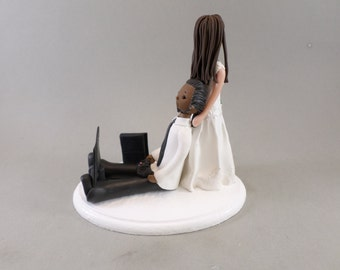Bride Dragging Groom Custom Handmade Wedding Cake Topper