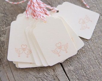 Love Bird Tags, Wedding Tags, Handmade Paper Tags, Gift Tags