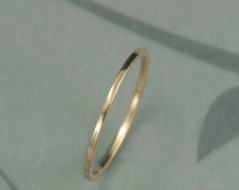 Thin Gold Wedding Band--18K Gold Ring--Thin Wedding Ring--Flat Gold Band--18K Gold Spacer Ring--YOUR Choice of Gold Color--18K Rose Gold