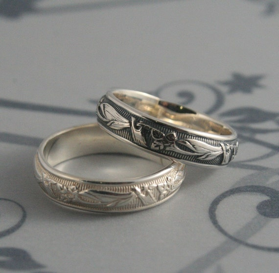 Vintage Style Ring--Lily Nouveau Ring--Men's Wedding Band--Art Deco Ring--Solid Silver Band--Women's Wedding Ring-Patterned Ring-Floral Band