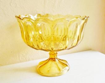 Large Amber Gold Glass Pedestal Dish Serving Fruit Bowl Wedding Decoration