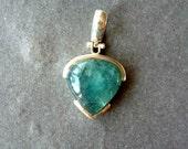 sterling silver vintage aventurine pendant