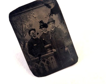 UPCYCLED Vintage Antique Tin-Type VICTORIAN Woman Lady Tin Type Portrait Photo Adjustable RING