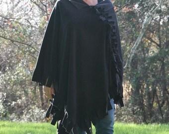 Long Black Chamois Poncho - Cozy Microfleece Wrap