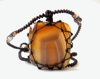 square Agate macrame Necklace - Your Stone For Protection - Bohemian healing crystal- chalcedony