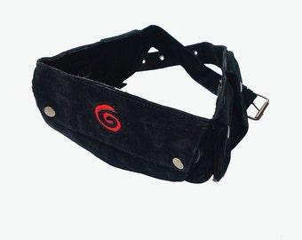 Unisex Leather Utility Belt | Black with Swirl Suede, 7 Pocket |travel, festival, iPhone