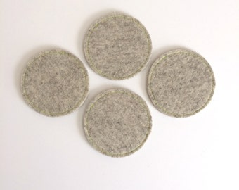 Wool Felt Coaster Set: Heather Flax Ground - Neon Green Stitching