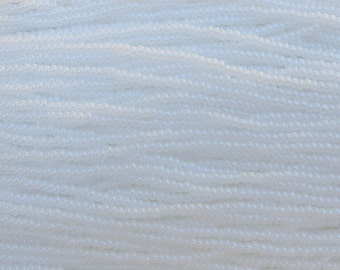 8/0 Opaque White Pearl Czech Glass Seed Bead Strand (CW75)