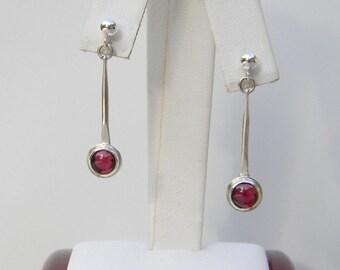 Sterling and Garnet Drop Earrings