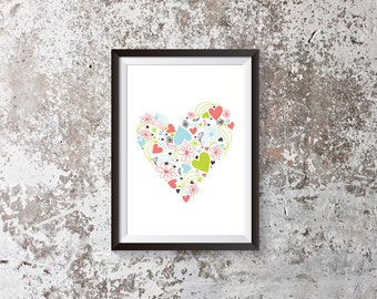 floral heart art print, INSTANT DOWNLOAD, valentines day gift, colorful modern decor, botanical printable PDF, secret garden, letterhappy