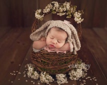 Sweet Little Lop Ear Bunny Bonnet Available -- Fluffy Mohair Boucle Wool Knit Newborn Bonnet with Removable Clippie