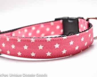 Lucky Star Pink Dog Collar / Custom Dog Collar