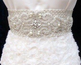 LUX Bridal Rhinestone Sash Crystal Wedding Belt Beaded Sashes Belts