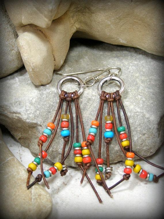 Tribal Earrings, Leather Earrings, Southwestern Earrings, Tribal Jewelry, Southwest Jewelry, Bohemian Earrings, Boho Jewelry, Beaded Earring
