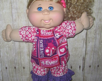 """Cabbage Patch, Doll Clothes, Love bug Set  14""""  or 15"""" Doll Clothes,  Adoptimals, Pink and Purple Top and Short"""