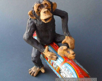 Chimp on a Blimp - Whimsical Ceramic Animal Sculpture Built on Antique Toy