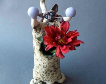 Siamese Cat on Vase Whimsical Ceramic Sculpture
