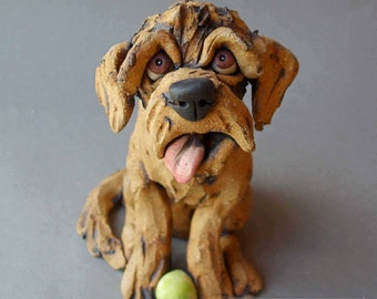 Labradoodle or Goldendoodle Dog with Tennis Ball Ceramic Sculpture