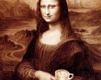 coffee art, Mona Latte, painted using only coffee, drinking coffee, coffee break, Mona Lisa, Mona Latte, latte, espresso, da Vinci