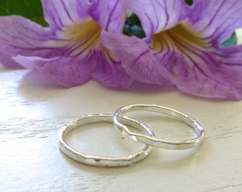 Stacking Ring Set - Fine Silver Rings - Silver Rings - Two Silver Rings - 14 Gauge Fine Silver Rings - Shiny Rings
