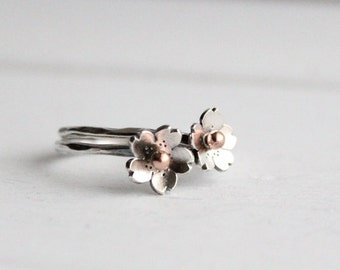 Dainty Cherry Blossom Stacking rings, Sakura rings, Spring Wedding Jewelry, Simple rings, Stacking Rings, Gifts for bridesmaids