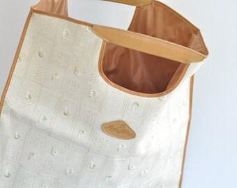 Italian Vintage Tote 1970's hippie leather handbag// Mastro Pellaio // Boho style // Cut out handle Tote Bag