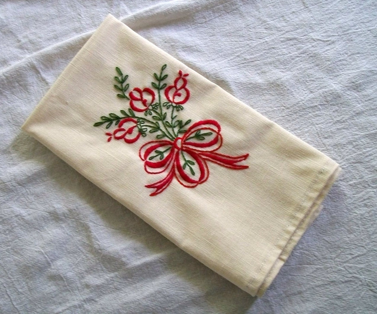 Rose Embroidered Towels: Tea Towel With Hand Embroidery Embroidery Red Rose Towels