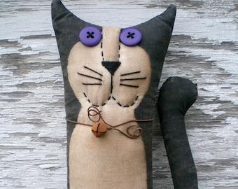 Max The Primitive Folk Art Black and White Kitty Cat Shelf Sitter Art Doll