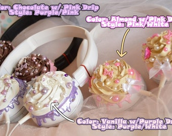Cupcake Headphones -- Made to Order kawaii headphones cute miniature food frosting chocolate sauce pastel goth fairy kei lolita fashion