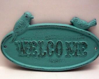 Bird Cast Iron Welcome Sign Shabby Chic Turquoise Aqua Home Decor