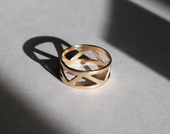 Solid Gold Triangle Ring