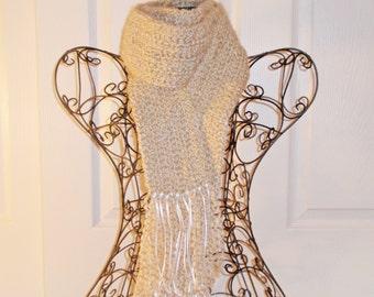 Hand Crocheted Scarf - SUPER SOFT Homespun Yard in Vanilla Cream - Women's Fashion Scarf, Woman's Apparel, Scarf, Scarves, Fashion Accessory