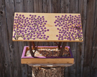 Persnickety Bird Feeder - Handmade Open Air Bird Feeder in Rustic Twigs & Purple Berries - Reclaimed Pine Wood and Natural Tree Branches