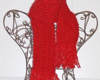 Hand Crocheted Scarf - SUPER SOFT Homespun Yarn, Candy Apple Red - Women's Fashion Scarf, Woman's Apparel, Scarf, Scarves, Fashion Accessory