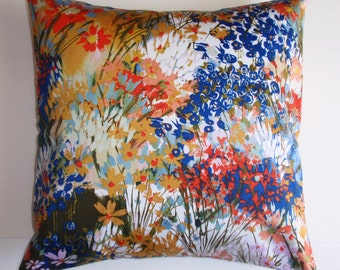 """Throw Pillow Cover, Floral Accent Pillow, Decorative Cushion Cover, Floral Pillow Cover, Summer Flowers Pillow, Sateen Fabric, 16x16"""" Square"""