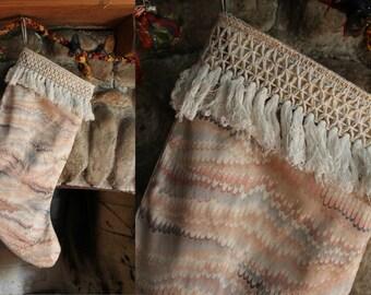 Upcycled Vintage Pastel Deco Crochet Fringe Christmas Stocking