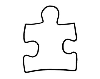 PUZZLE PIECE-AUTISM symbol-autism support symbol-two style options-large stamp-stamp with cling cushion/unmounted.(57-21solid)(57-22outline)