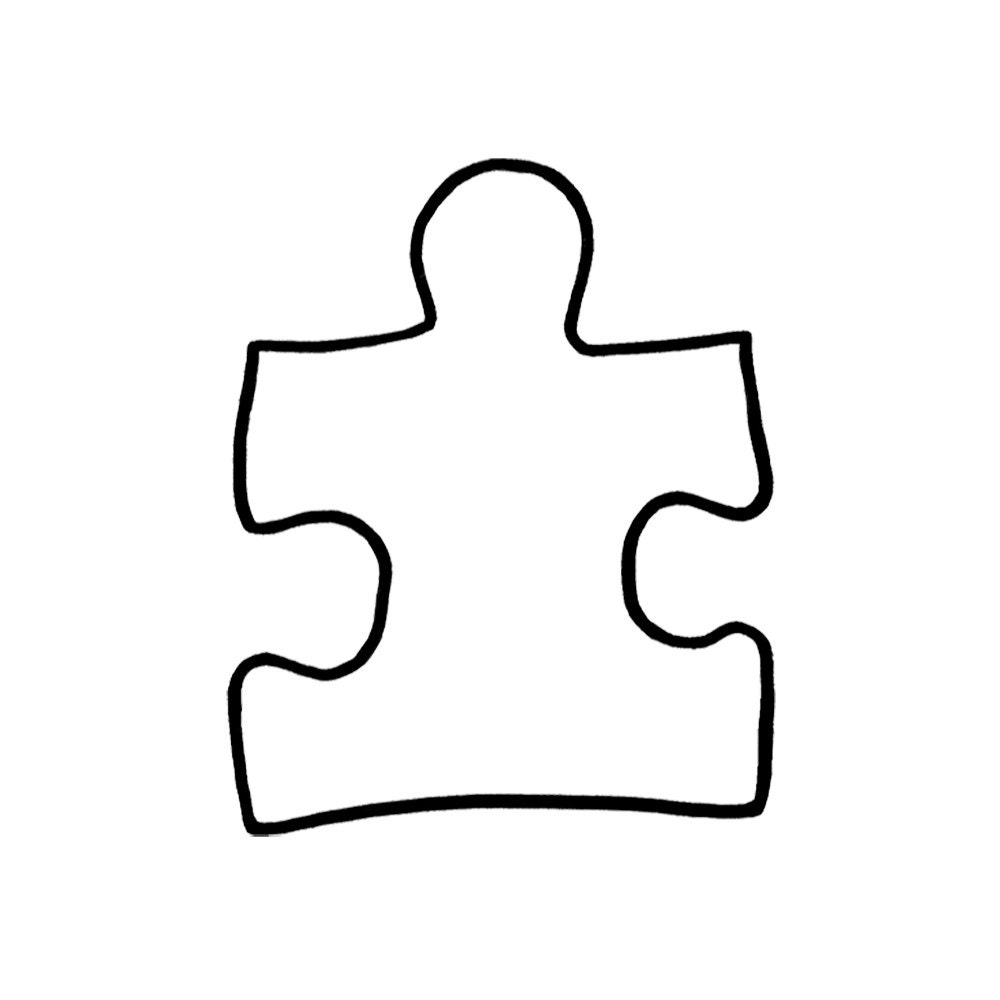 Puzzle piece autism symbol autism support symbol two style for Large blank puzzle pieces template