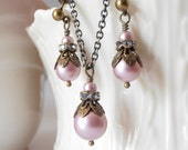 Ballet Pink Bridesmaids Jewelry Sets, Swarovski Pearl Necklace and Earrings in Antiqued Bronze with Rhinestones, Vintage Style Weddings