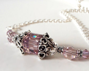 Light Purple Bridesmaid Necklaces, Lilac Swarovski Crystal Wedding Jewelry in Antiqued Silver, Maid of Honor Gift, Beaded Bridal Party Sets