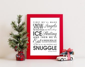 DIGITAL FILE Buddy the Elf Quote Printable art print wall art poster Christmas Holiday decoration decor Instant Download