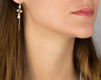 Cubic Zirconia Earrings -hand wired, Frill, 14K goldfilled & silver