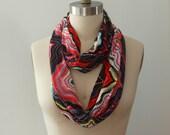 Chervron scarf, eternity scarf, infinity scarf, travel scarf, multicolor scarf, circle scarf, modern scarf, fashion scarf