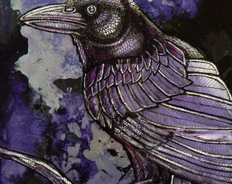 Nightwatch Crow / Raven / Bird Art Print by Lynnette Shelley