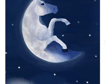 Illustration Art Print- Field Guide to Unicorns: Moonicorn